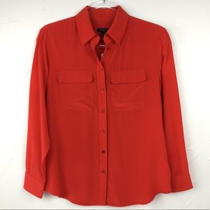 NWT Talbots Petites Red Button Down Shirt Size 0P